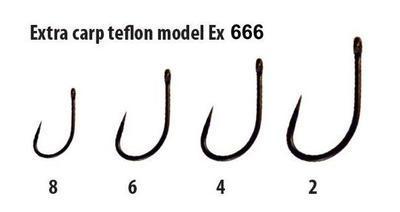 Extra Carp háčky bez protihrotu Teflon série Ex 666